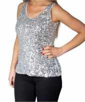 Zilveren glitter pailletten disco topje mouwloos shirt dames carnavalskleding