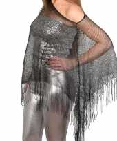 Zilveren visnet poncho omslagdoek stola dames carnavalskleding