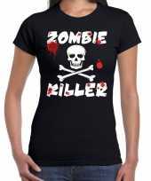 Zombie killer halloween t-shirt zwart dames carnavalskleding