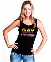 Zwart gay power tanktop dames carnavalskleding