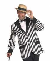 Zwart wit gestreept heren jasje carnavalskleding