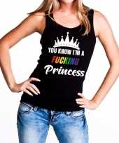 Zwart you know i am a fucking princess tanktop dames carnavalskleding