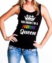 Zwart you know i am a fucking queen tanktop dames carnavalskleding